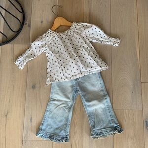 Top and flare ruffles jeans
